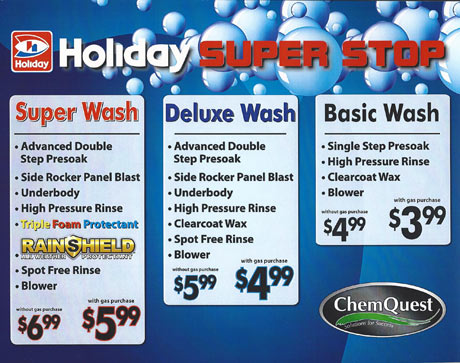 Catch up on your email while the Holiday Shell Foam Brite Car Wash removes bugs, salt, and grime from your vehicle, leaving a sparkling finish. This specialized automated car wash technology gently and effectively washes away the filth, adds a thin, clearcoat layer of .